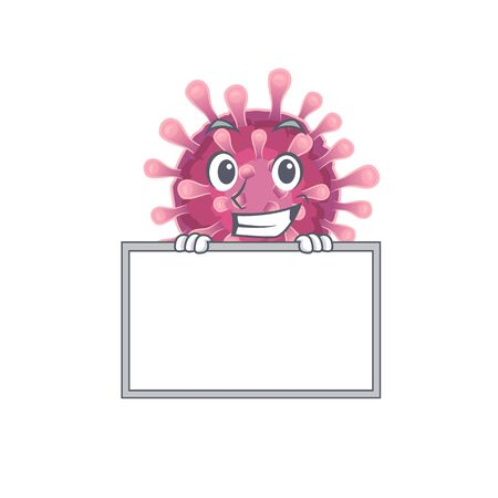 A cute picture of corona virus grinning with board. Vector illustration