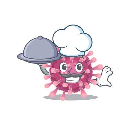 cartoon design of corona virus as a Chef having food on tray. Vector illustration