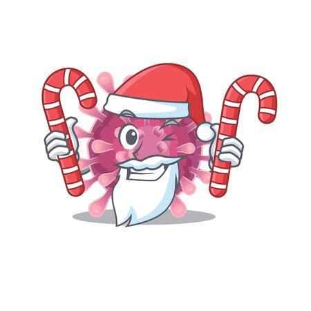 Corona virus Cartoon character in Santa costume with candy. Vector illustration