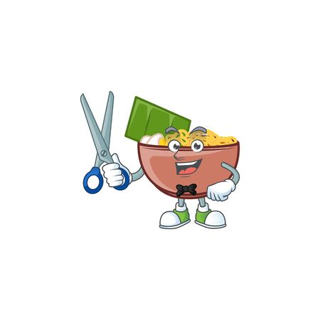 Cool friendly barber bowl of noodle cartoon character style