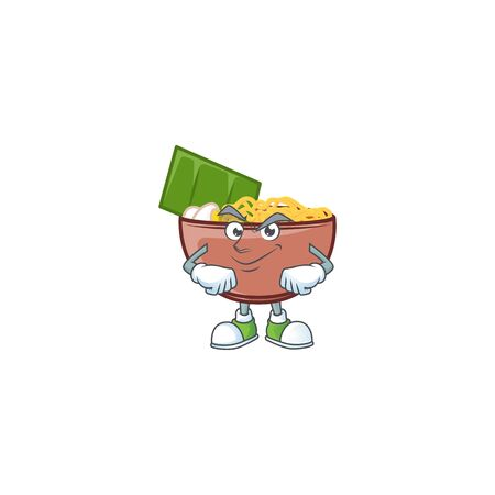Bowl of noodle mascot cartoon character style with Smirking face Ilustração
