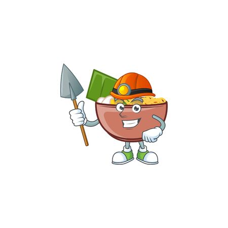 Cool clever Miner bowl of noodle cartoon character design Illusztráció