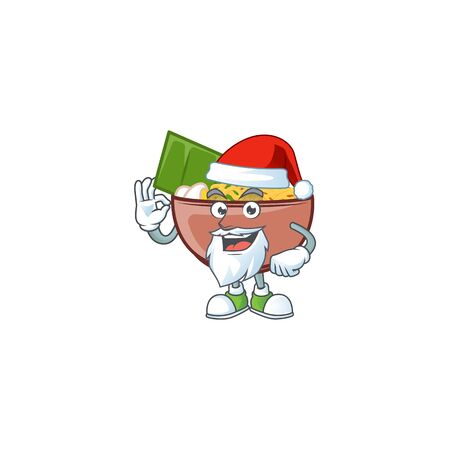 A picture of Santa bowl of noodle mascot picture style with ok finger