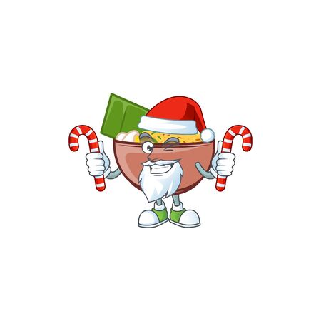 Bowl of noodle Cartoon character in Santa costume with candy