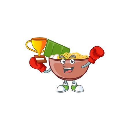 fantastic Boxing winner of bowl of noodle in mascot cartoon style