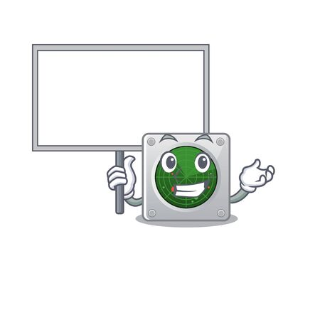 A cute picture of radar cute cartoon character bring a board. Vector illustration Illustration