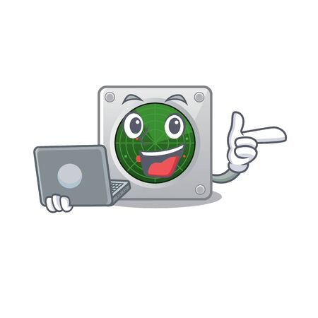 Smart character of radar working with laptop. Vector illustration