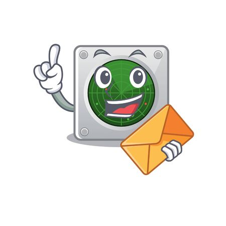 Cheerfully radar mascot design with in envelope. Vector illustration