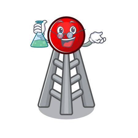 Smart Professor radio tower cartoon character with glass tube. Vector illustration