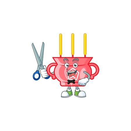 Cool friendly barber chinese red incense cartoon character style