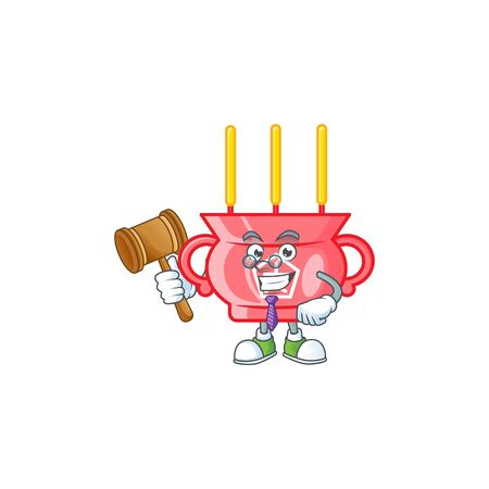 Smart Judge chinese red incense in mascot cartoon character style