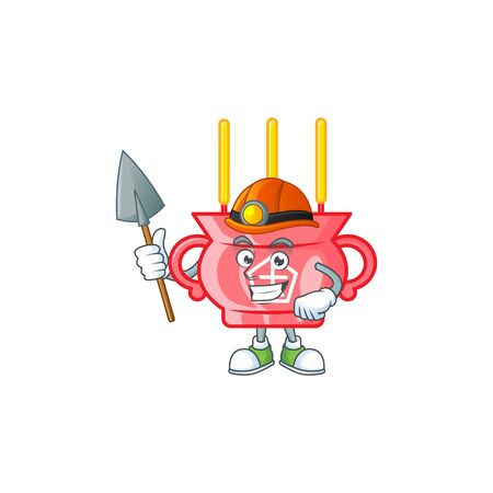 Cool clever Miner chinese red incense cartoon character design