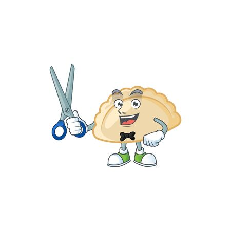Cool friendly barber pierogi cartoon character style