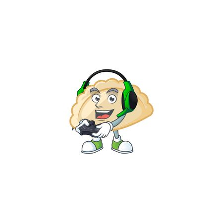 Cool pierogi cartoon mascot with headphone and controller. Vector illustration