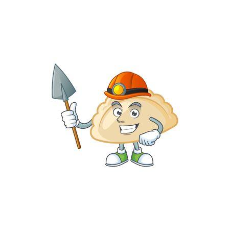 Cool clever Miner pierogi cartoon character design