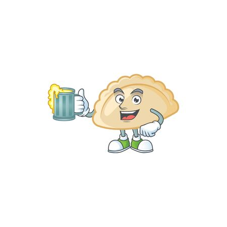 Happy pierogi mascot design with a big glass Ilustração