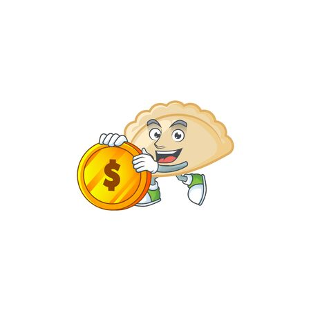 Rich pierogi mascot cartoon design style with gold coin Illusztráció