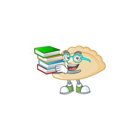 Cool and clever Student pierogi mascot cartoon with book