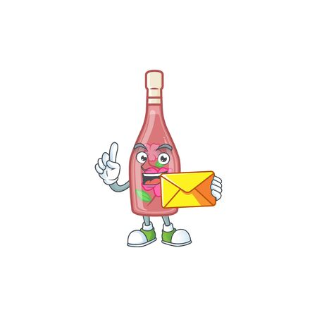 Cheerfully pink bottle wine mascot design with envelope Illustration