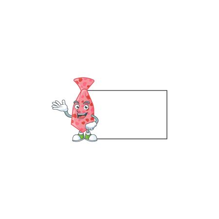 Smiley pink love tie with whiteboard cartoon character design. Vector illustration
