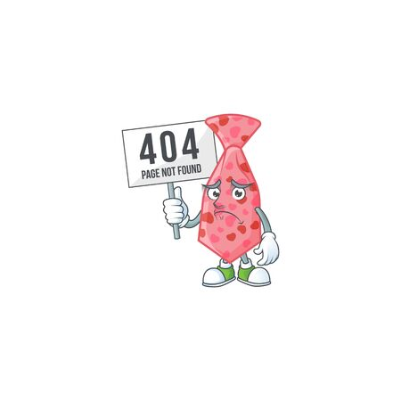 sad face mascot style of pink love tie raised up a board. Vector illustration