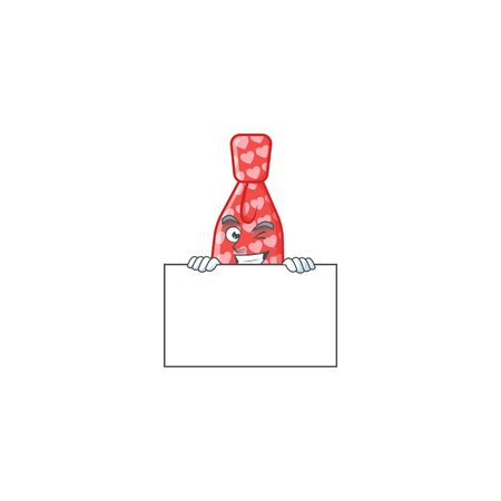 Grinning face red love tie cartoon character style hides behind a board. Vector illustration