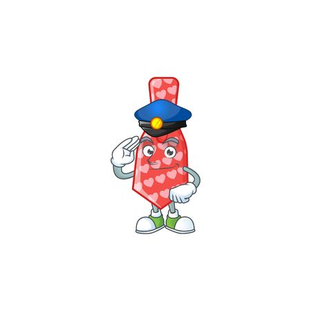A character design of red love tie in a Police officer costume. Vector illustration