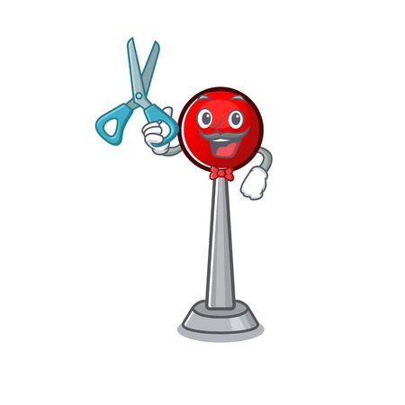 Smiley Funny Barber antenna cartoon character design style 向量圖像