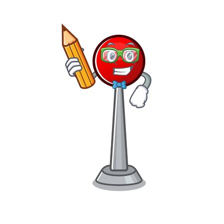 A picture of Student antenna character holding pencil Stock Illustratie