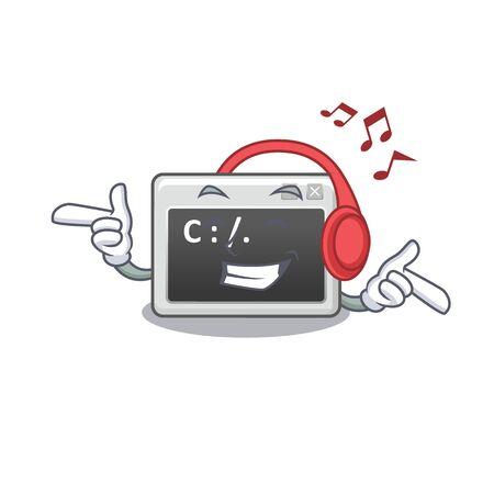 Diseño de personajes de dibujos animados de la mascota de la ventana de comando de música que escucha