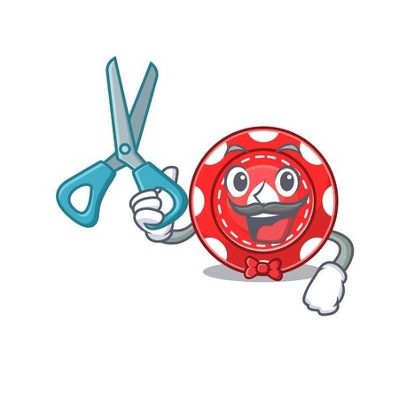 Smiley Funny Barber gambling chips cartoon character design style 向量圖像
