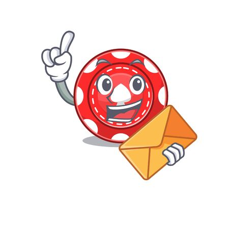 Cheerfully gambling chips mascot design with envelope Illustration