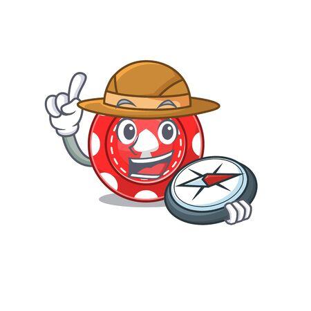 Gambling chips stylized Explorer having a compass