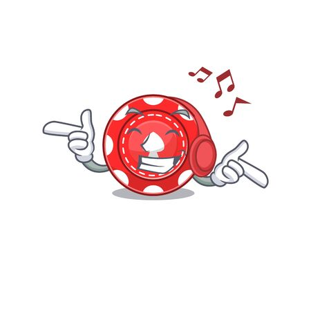 Listening music gambling chips mascot cartoon character design