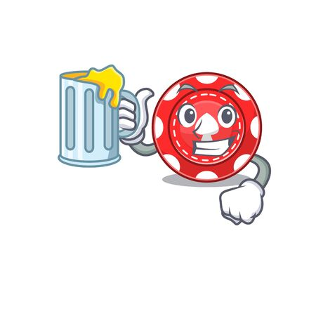 Happy gambling chips mascot design with a big glass Illustration