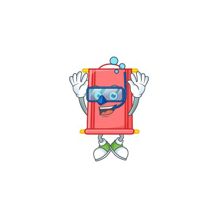 cartoon character of chinese red scroll wearing Diving glasses. Vector illustration