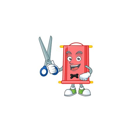 Cool friendly barber chinese red scroll cartoon character style. Vector illustration