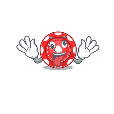 Gambling chips Cartoon character style with a crazy face. Vector illustration Illustration