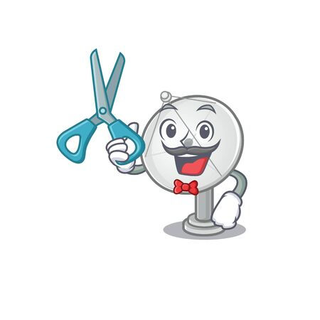 Smiley Funny Barber satellite dish cartoon character design style