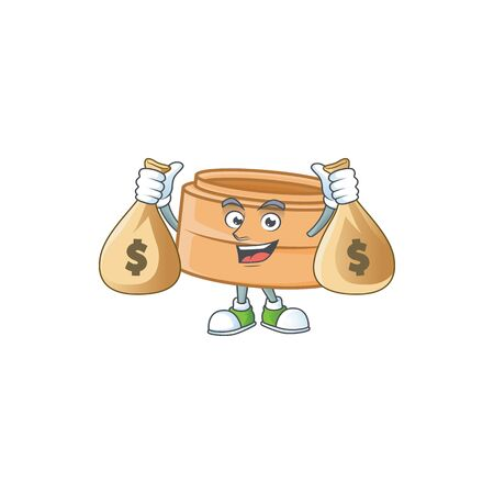 A picture of rich dimsum basket cartoon character with two money bags. Vector illustration Illustration