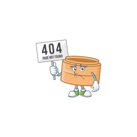 sad face mascot style of dimsum basket raised up a board. Vector illustration Vectores