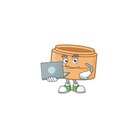 A clever dimsum basket mascot character working with laptop. Vector illustration  イラスト・ベクター素材