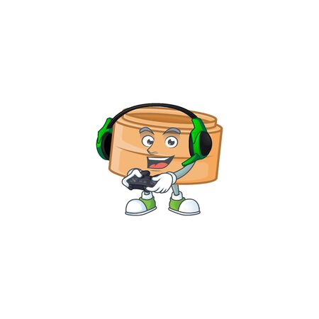 Cool dimsum basket cartoon mascot with headphone and controller. Vector illustration