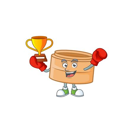 fantastic Boxing winner of dimsum basket in mascot cartoon style. Vector illustration
