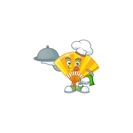 cartoon design of gold chinese folding fan as a Chef having food on tray. Vector illustration