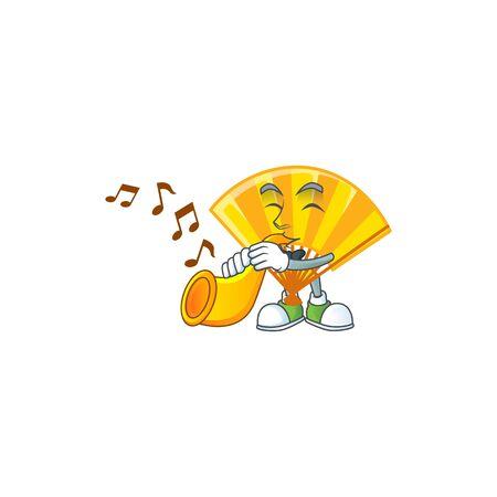 cartoon character style of gold chinese folding fan performance with trumpet. Vector illustration Vektoros illusztráció