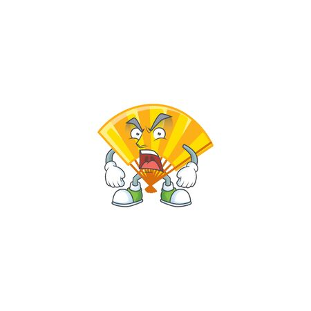 Gold chinese folding fan cartoon character design having angry face. Vector illustration