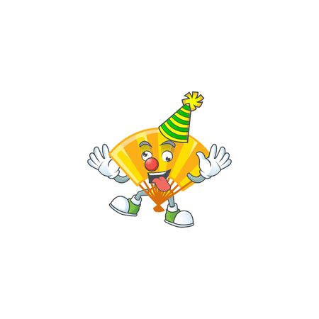 Funny Clown gold chinese folding fan cartoon character mascot design. Vector illustration