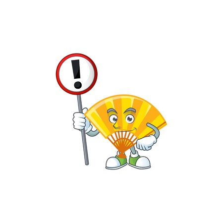 A picture of Cartoon mascot of gold chinese folding fan rise up a sign. Vector illustration