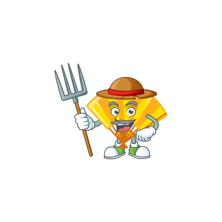 Cute Farmer gold chinese folding fan cartoon mascot with hat and tools. Vector illustration